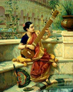 Raja_Ravi_Varma,_Lady_playing_Sitar